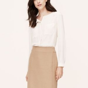 LOFT ivory collarless long sleeve utility blouse